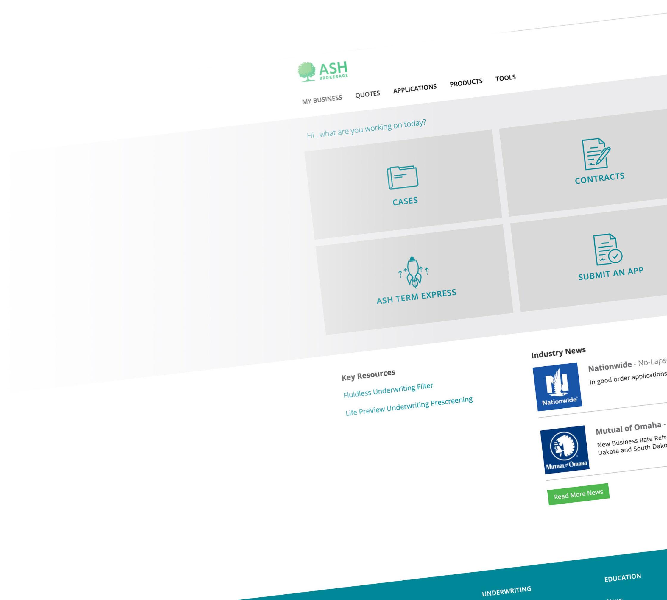 Ash Brokerage Advisor Portal Homepage 2