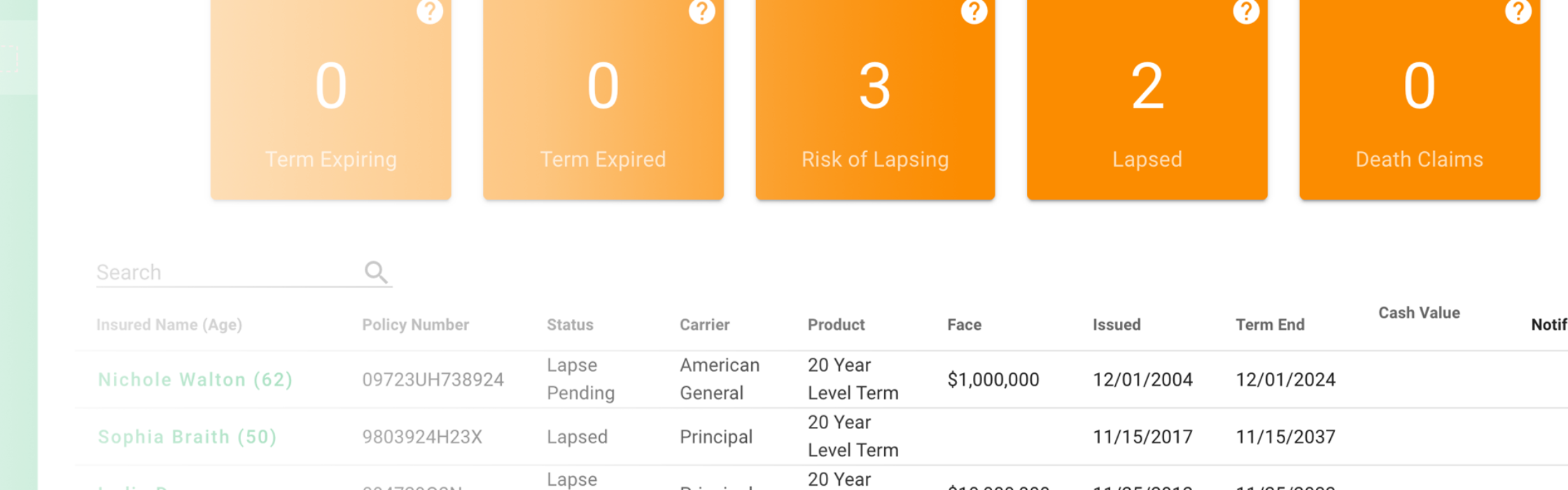 Inforce Vision Dashboard for Ash Brokerage In Force Policy Management