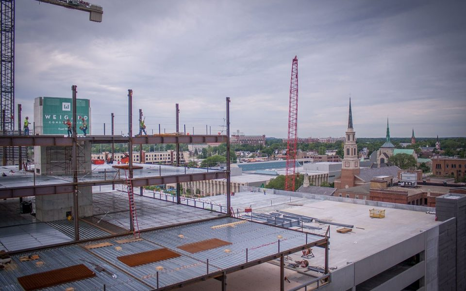 Construction of Ash Buidling Downtown Fort Wayne