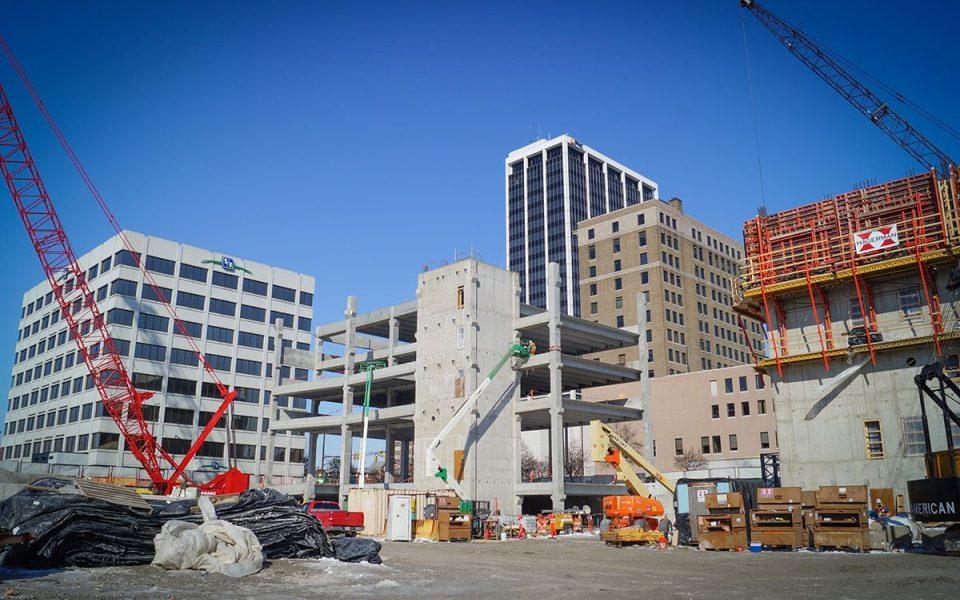 Construction of Skyline Parking Garage Downtown Fort Wayne
