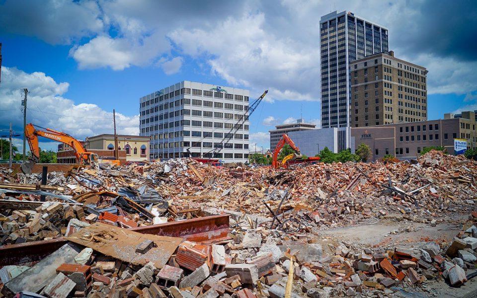 Demolition at Ash Skyline Plaza Downtown Fort Wayne