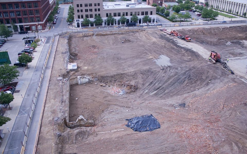 Empty Dirt At Future Site of Ash Skyline Plaza in Downtown Fort Wayne