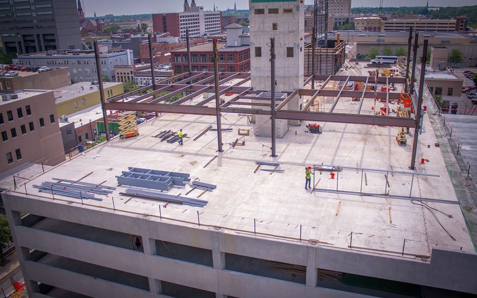 First Steel in Construction of Ash Skyline Plaza Downtown Fort Wayne