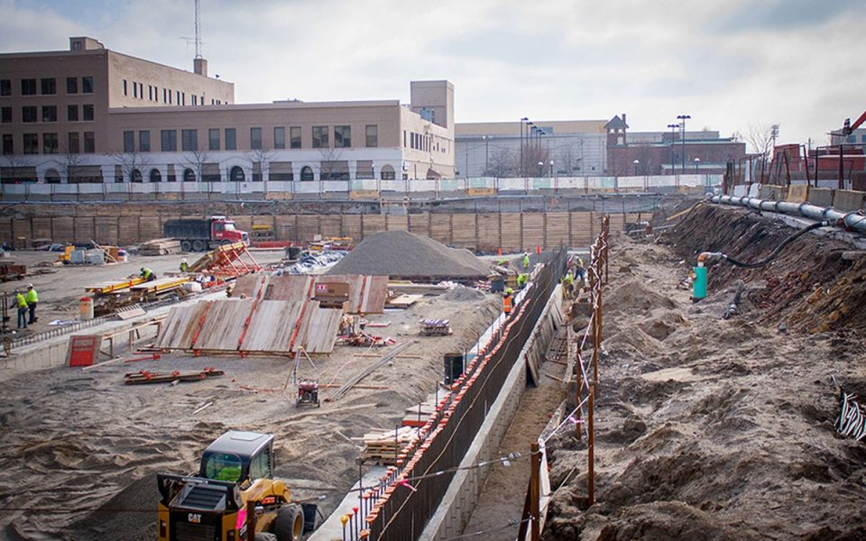 Foundation Construction at Ash Skyline Plaza Downtown Fort Wayne