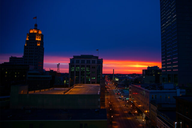 Sunrise Over Fort Wayne Indiana From Ash Brokerage Building