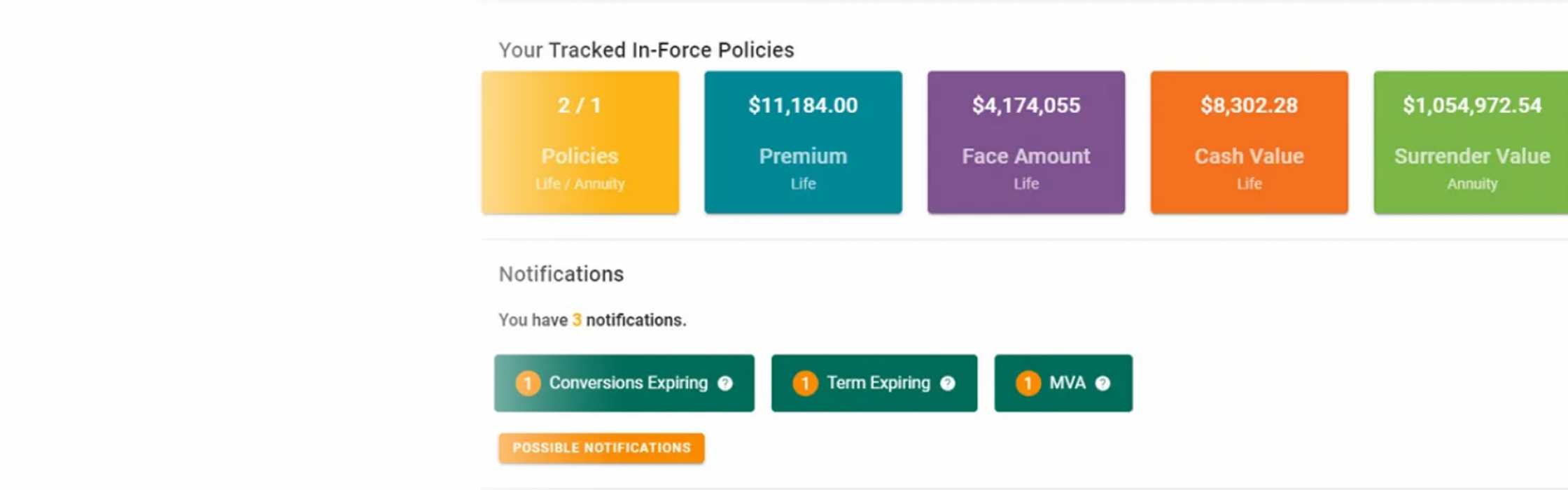 In Force Vision Policy Management Ash Brokerage Dashboard